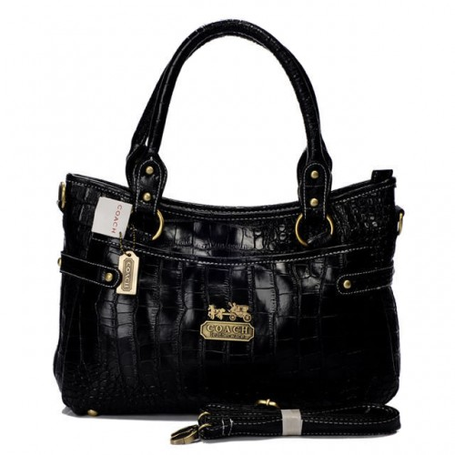 Coach In Embossed Medium Black Satchels BIW