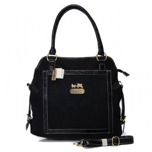 Coach Logo In Signature Medium Black Satchels BJB