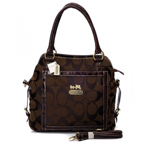 Coach Logo In Signature Medium Coffee Satchels BJC