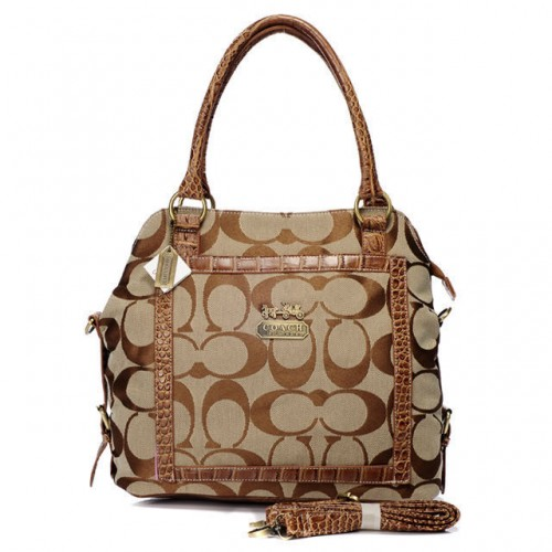 Coach Logo In Signature Medium Khaki Satchels BJD