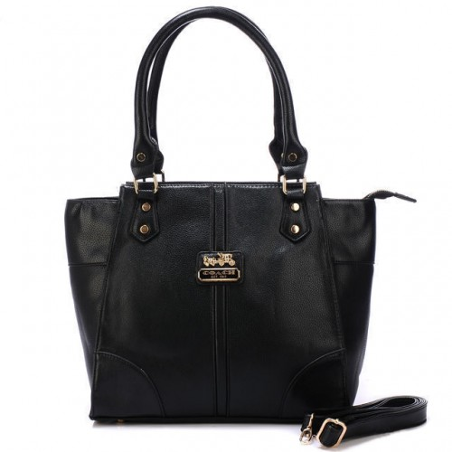 Coach Logo Medium Black Satchels BJG