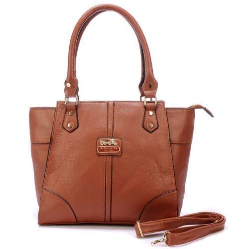 Coach Logo Medium Brown Satchels BJI