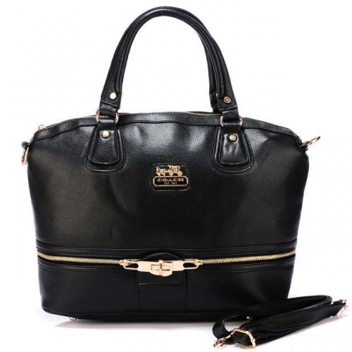 Coach Zip In Logo Large Black Satchels BJK