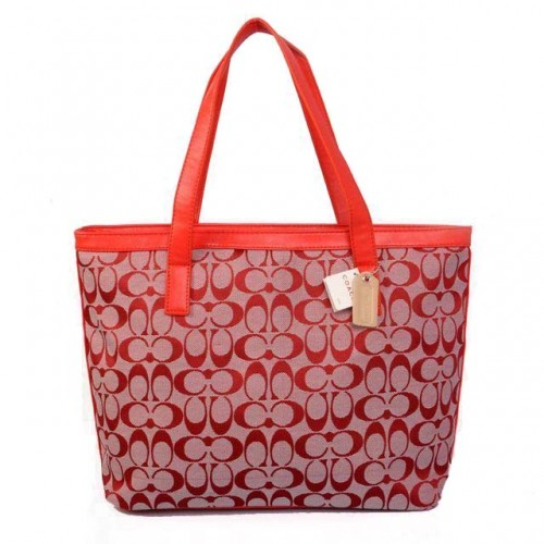 Coach Logo Monogram Medium Red Totes BJR