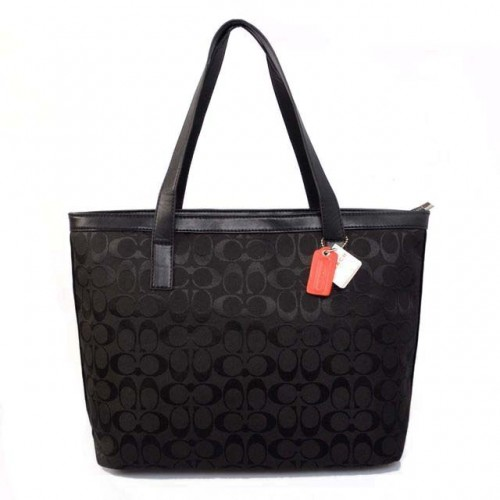 Coach Logo Monogram Medium Black Totes BJS
