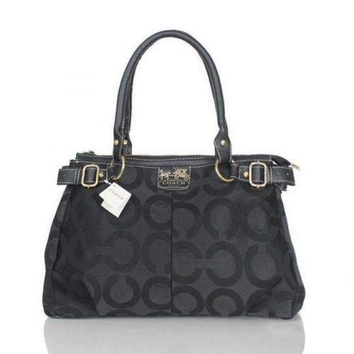 Coach Logo Monogram Medium Black Satchels BJX