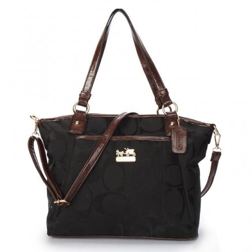 Coach Logo Monogram Medium Black Totes BJZ