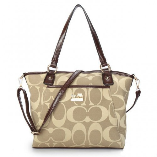 Coach Logo Monogram Medium Khaki Totes BKB