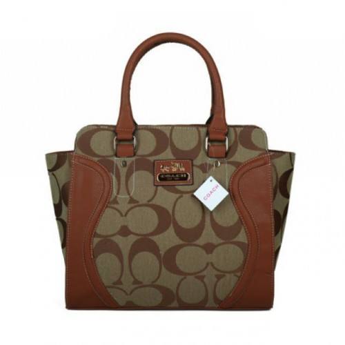 Coach Logo Monogram Medium Beige Satchels BKC