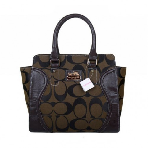 Coach Logo Monogram Medium Coffee Satchels BKF