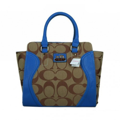 Coach Logo Monogram Medium Blue Satchels BKG