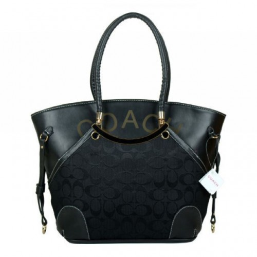 Coach Logo Monogram Small Black Totes BKI