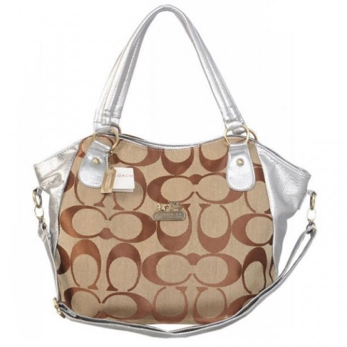 Coach Logo In Signature Small Silver Totes BKP