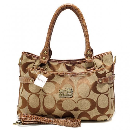 Coach Logo Monogram Small Brown Satchels BKU