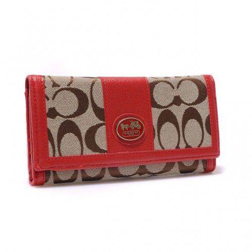 Coach Legacy Slim Envelope in Signature Large Red Wallets BLM
