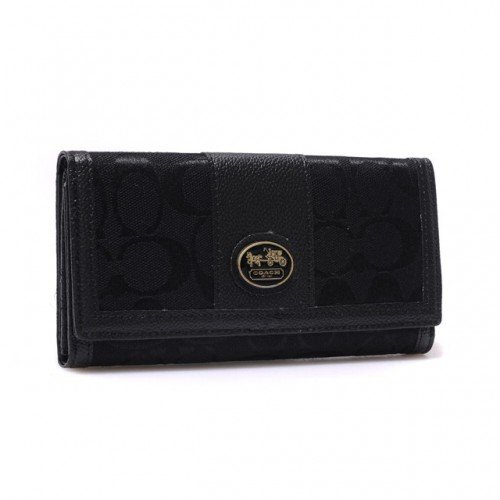 Coach Legacy Slim Envelope in Signature Large Black Wallets BLN