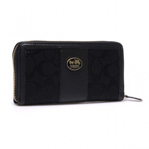 Coach Zippy In Signature Large Black Wallets BLT
