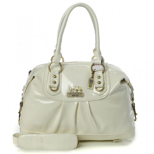 Coach Madison In Smooth Medium White Satchels BLZ