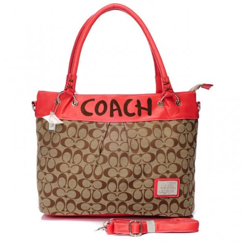 Coach Logo Monogram Large Red Totes BMH
