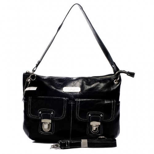 Coach Kristin Lock Medium Black Shoulder Bags BMJ