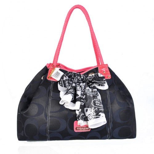 Coach East West Scarf Large Black Totes BMM