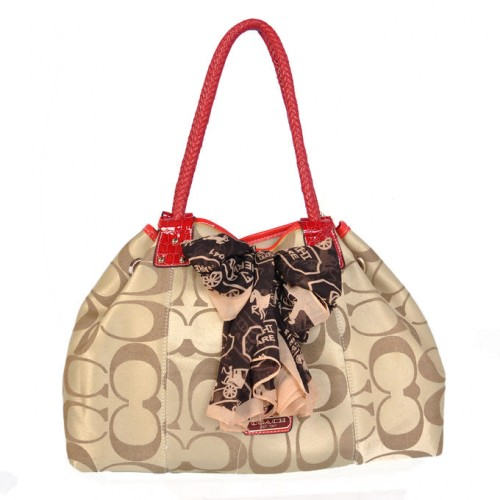 Coach East West Scarf Large Khaki Totes BMP