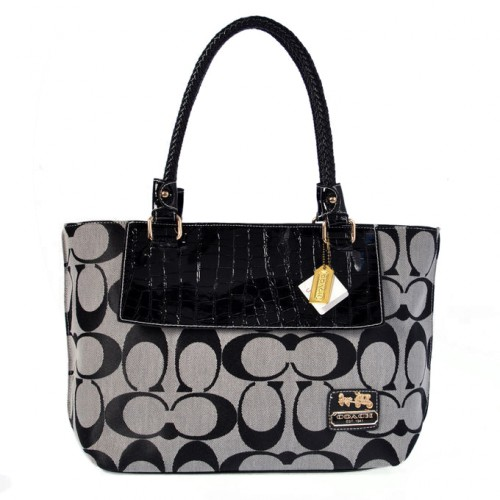 Coach Embossed In Signature Medium Grey Totes BMQ