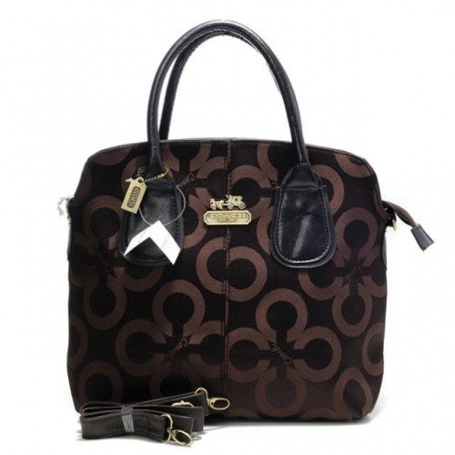 Coach Logo In Signature Medium Coffee Totes BMV