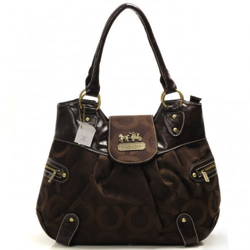 Coach Snap Flap In Signature Large Coffee Satchels BND