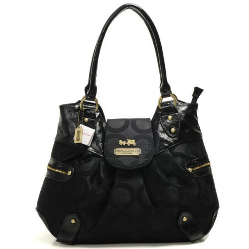 Coach Snap Flap In Signature Large Black Satchels BNF