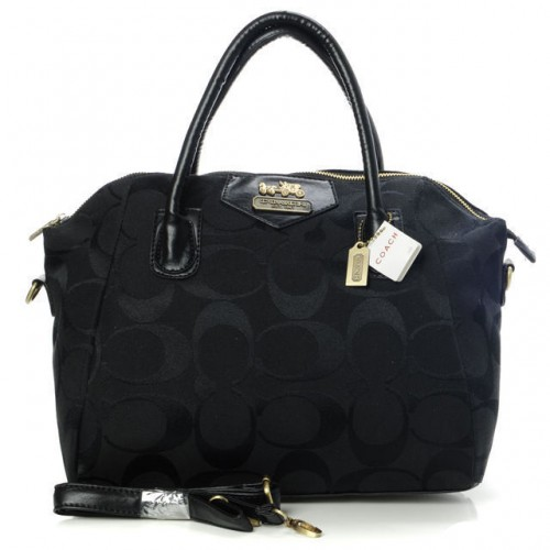 Coach Logo In Monogram Medium Black Satchels BOD