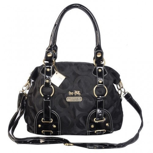 Coach Madison In Monogram Medium Black Satchels BOK