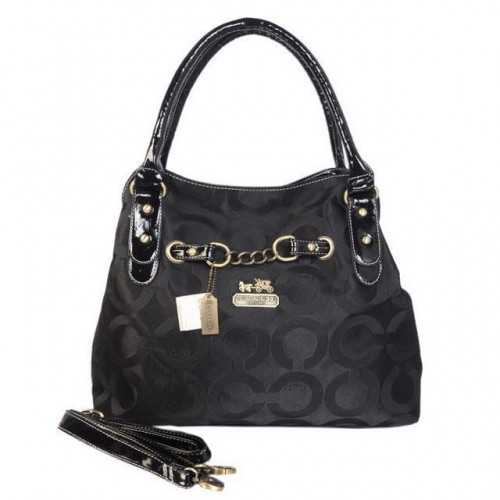 Coach Chain Logo In Monogram Medium Black Satchels BON
