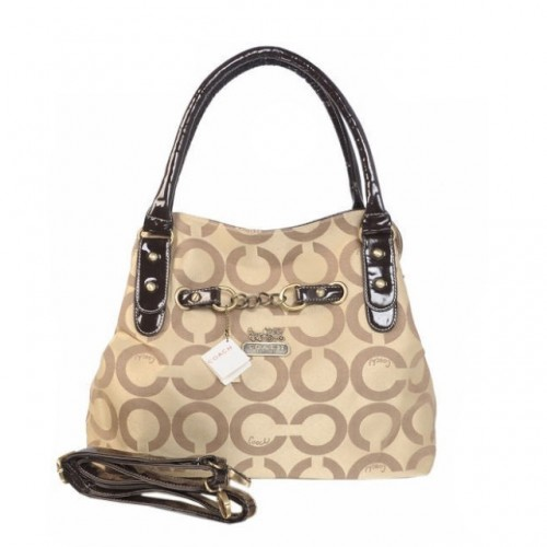Coach Chain Logo In Monogram Medium Khaki Satchels BOO