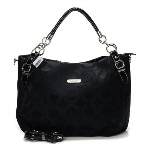 Coach Chain Logo In Monogram Small Black Totes BOT