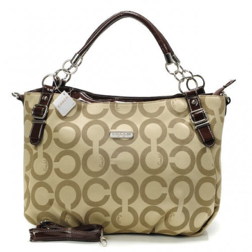 Coach Chain Logo In Monogram Small Khaki Totes BOU