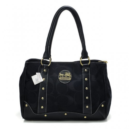 Coach Legacy In Signature Studded Small Black Satchels BOZ