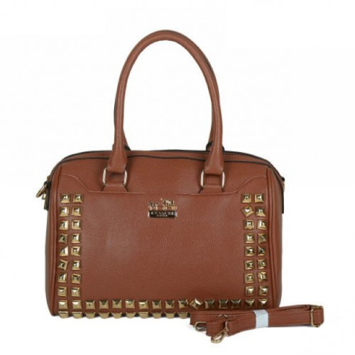 Coach Legacy Legacy Haley In Stud Medium Brown Satchels BPB