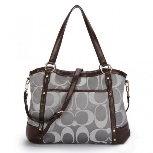 Coach Legacy Logo In Signature Large Grey Totes BPF
