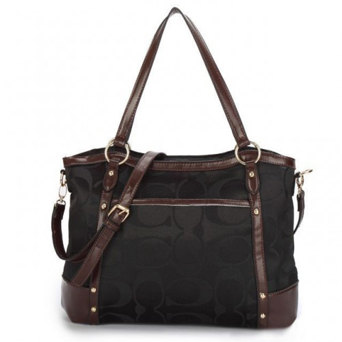 Coach Legacy Logo In Signature Large Black Totes BPH