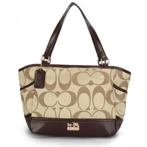 Coach Legacy Logo In Monogram Small Khaki Totes BPJ