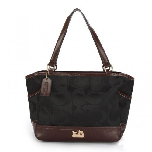Coach Legacy Logo In Monogram Small Black Totes BPK