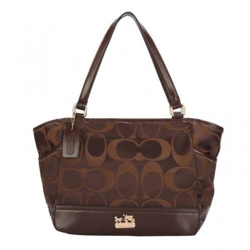 Coach Legacy Logo In Monogram Small Coffee Totes BPL