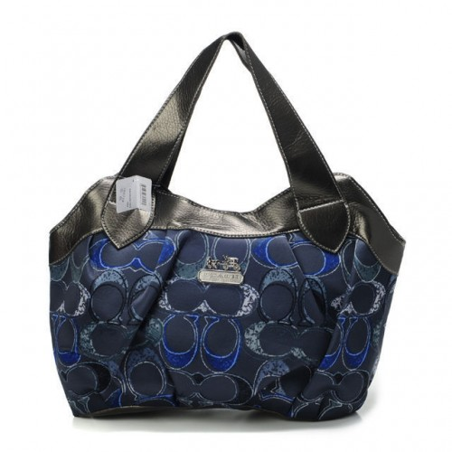 Coach Legacy Logo In Signature Medium Navy Hobo BPM
