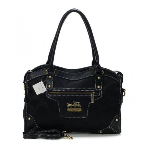 Coach Legacy Logo In Signature Medium Black Satchels BPP