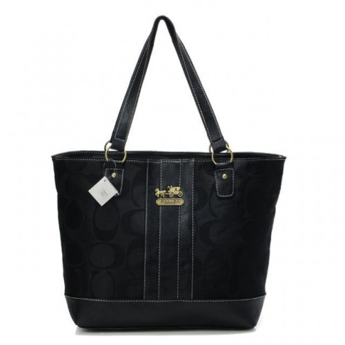 Coach Legacy Logo In Monogram Medium Black Totes BPS