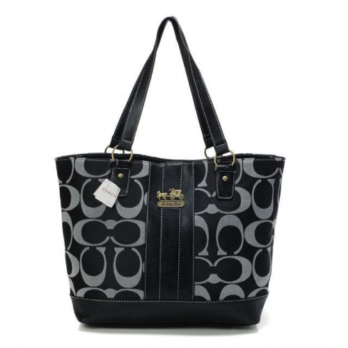 Coach Legacy Logo In Monogram Medium Black Totes BPT