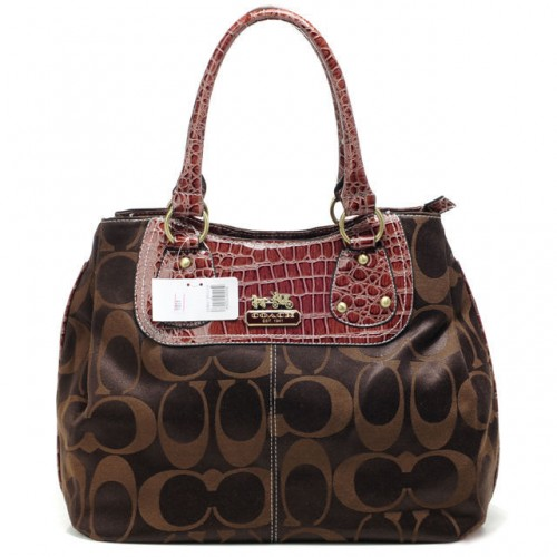 Coach Madison Embossed Logo In Monogram Large Coffee Totes BPV