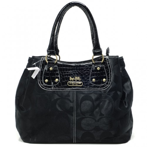 Coach Madison Embossed Logo In Monogram Large Black Totes BPW
