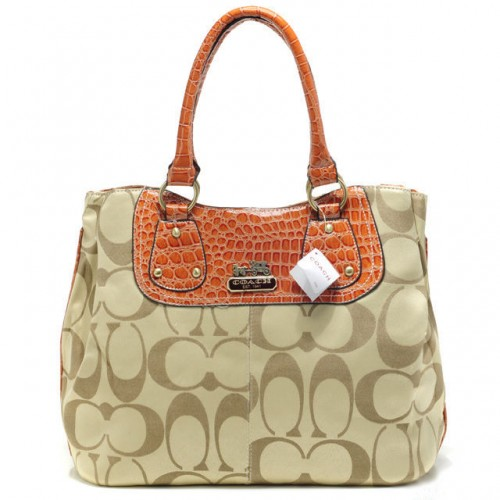 Coach Madison Embossed Logo In Monogram Large Khaki Totes BPX